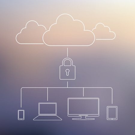 Cloud computing technology security concept. Data privacy business. Modern line icons on soft color blurred background. Suitable for presentations or infographics. Vector