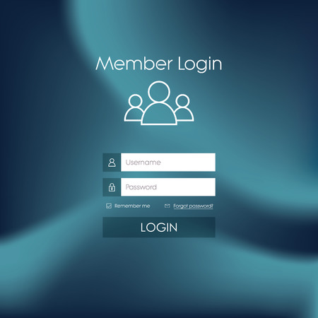 login button: Login form menu with simple line icons. Blurred background. Website element for your web design.