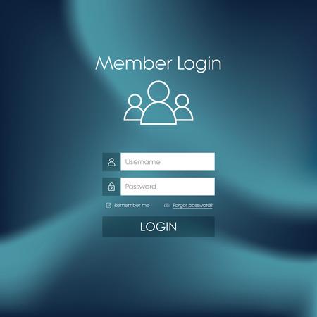 login: Login form menu with simple line icons. Blurred background. Website element for your web design.