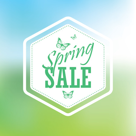 spring sale: Spring sale poster with hexagonal badge. Typographic text, butterflies. Blurred background gradient mesh. Vibrang green grass and blue sky. Suitable for advertising offers, discounts in malls, shops.