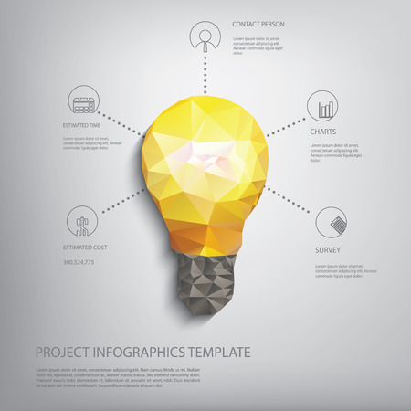 Bunte niedrigen polygonale Glühbirne Konzept Symbol der Kreativität. Geeignet für Infografiken, Geschäftspräsentationen, Analyse, Broschüren.