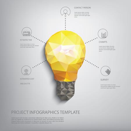 Kolorowe niskie wielokątne żarówka koncepcja symbol kreatywności. Nadaje się do infografiki, prezentacji biznesowych, raportów analitycznych, broszur.