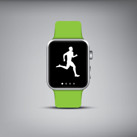 Smart watch technology with sport fitness tracker applications. Heart beat monitor. Healthy lifestyle outdoor running. Modern design icons.