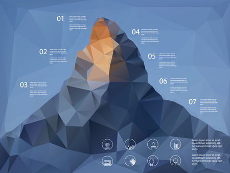 overview: Low polygonal shape mountain background. Line icons for business presentation or report analysis.