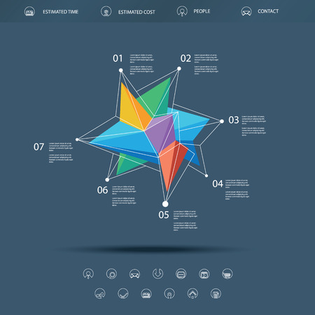triangular shape: Low polygonal abstract shape infographics or single page website template. Basic line icons for navigation. Colorful triangular shape. Illustration