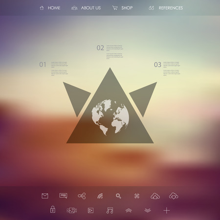 Single page website on blurred vintage background. Basic web line icons for introduction. Minimalistic design. Vector