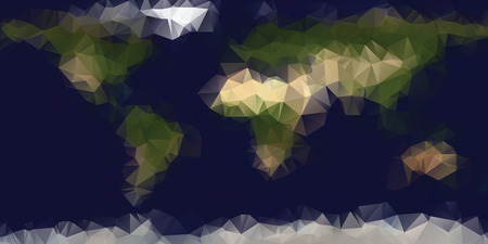 Low polygonal geometric world map in natural colors. Composed of triangles, editable vector.