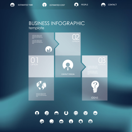businnes: Single page website or infographics template. Circle business icons in modern flat design. Menu options with symbols. Illustration