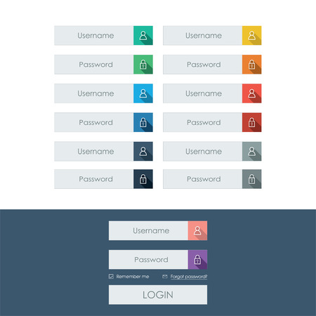 set form: Set of login form line icons in modern flat design with long shadow. Bright colors on buttons or bars.