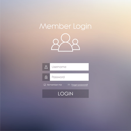 Login form menu with simple line icons. Blurred background. Website element for your web design.