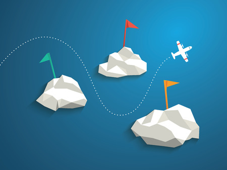 Plane and low polygonal clouds on blue sky. Infographics or business presentation template, background. Travel postcard concept design.