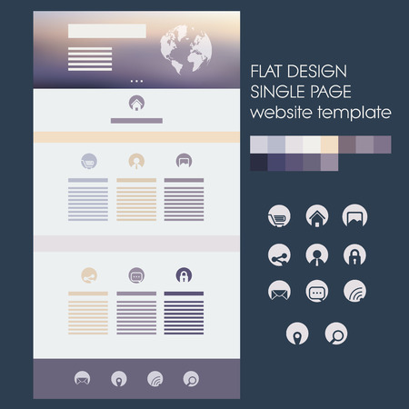 Single page website template with blurred background in soft purple, gold colors. Modern flat design circle icons. Illustration