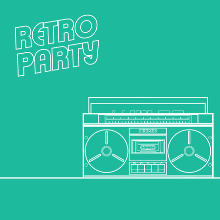 Retro party background in minimalistic style with line art cassette. Suitable for events invitations, concerts, clubs as a poster, leaflet, flyer. Vector
