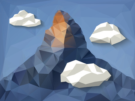 matterhorn: Low polygonal shape mountain background with clouds.