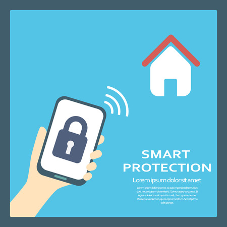 phone button: Smart home protection concept background with smartphone and symbol of lock. Modern flat design. Illustration
