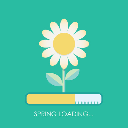 coming: Spring is coming with loading bar concept. Blossoming flower, white petals. Modern flat design. Illustration
