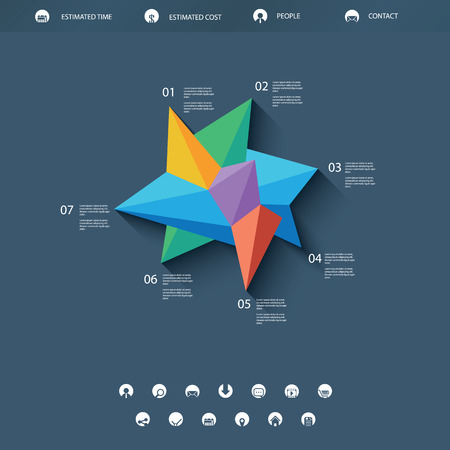 Low polygonal abstract shape infographics or single page website template. Basic line icons for navigation. Colorful triangular shape. Illustration
