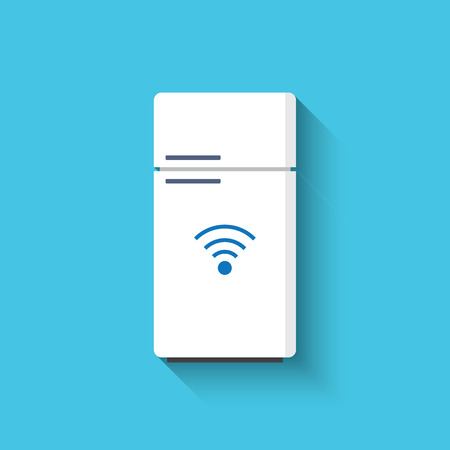 refrigerator with food: Smart refrigerator or fridge with freezer icon. Smart kitchen appliances. Internet of things concept with wireless connection. Modern flat design, long shadow.