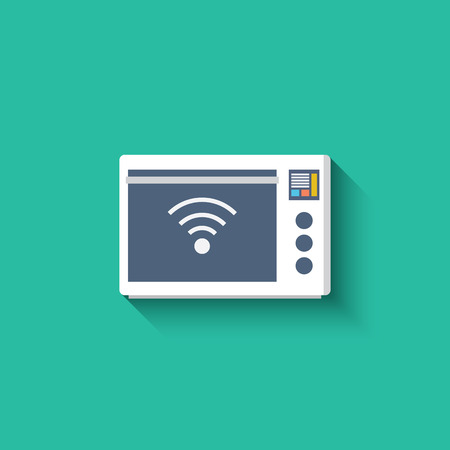 readymade: Smart microwave oven icon. Smart kitchen appliances. Internet of things concept with wireless connection. Modern flat design, long shadow.