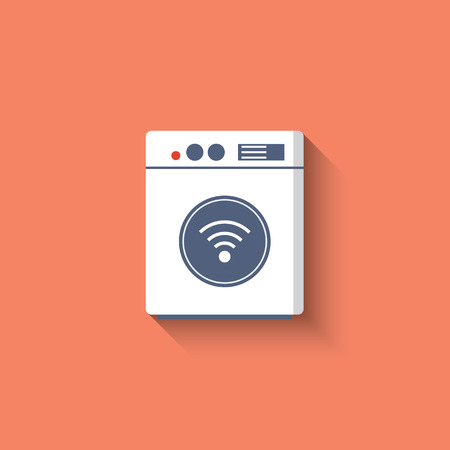 wireless connection: Smart washing mashine icon. Smart kitchen appliances. Internet of things concept with wireless connection. Modern flat design, long shadow.