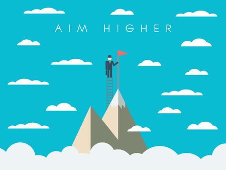 Carriera o missione aziendale motivazione manifesto, carta da parati, sfondo. Uomo d'affari su scala, cima di una montagna, simbolo di successo.