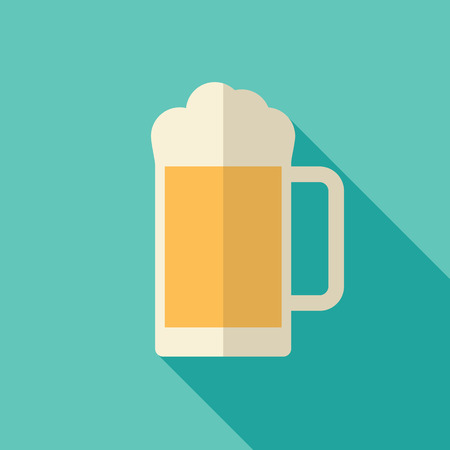 drinking alcohol: Beer icon, modern flat design with long shadow. Alcohol beverage drink symbol in vintage style
