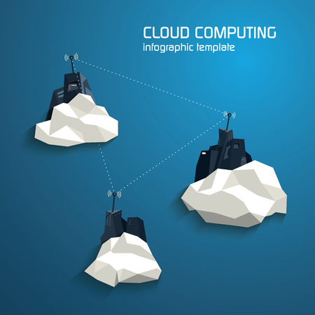 virtualization: Cloud computing concept template with servers. Low polygonal modern design suitable for presentation or web. Future technology and innovation.