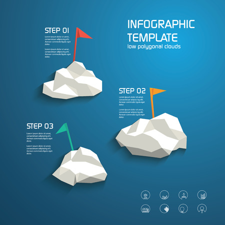 Infographics template layout menu options. Line icons for business presentation with graphs, ideas, finances. Modern low polygonal design clouds and flags.  イラスト・ベクター素材