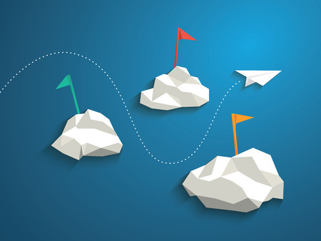 Paper plane and low polygonal clouds on blue sky. Infographics or business presentation template, background. Vettoriali