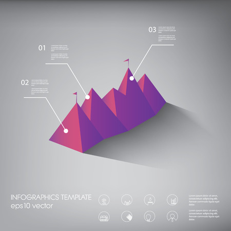 Polygon infographics background template or layout with line icons. Suitable for presentations, reports, analysis. Vector