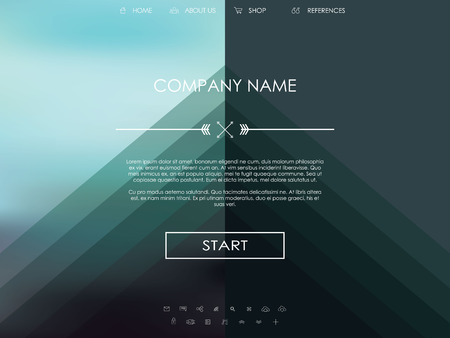 Vector website template with graphic user interface also for mobile. Blurred background gradient mesh. Line icons. Ghost buttons. Minimalistic style. One page. Introduction