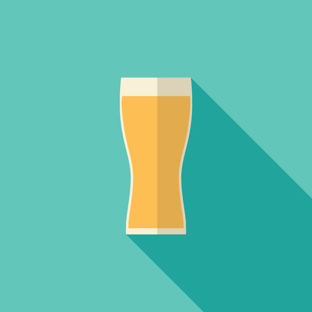 long drink: Beer icon, modern flat design with long shadow. Alcohol beverage drink symbol in vintage style