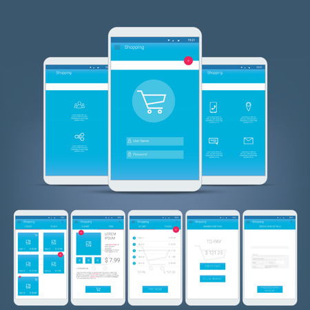 Flat design user interface for smart phone or mobile e-shop apps. Navigation menu with line icons and buttons. Various application screens.
