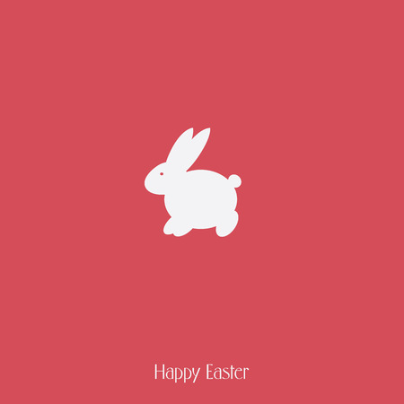 Happy Easter bunny silhouette on red background. Spring holiday template card. Vector