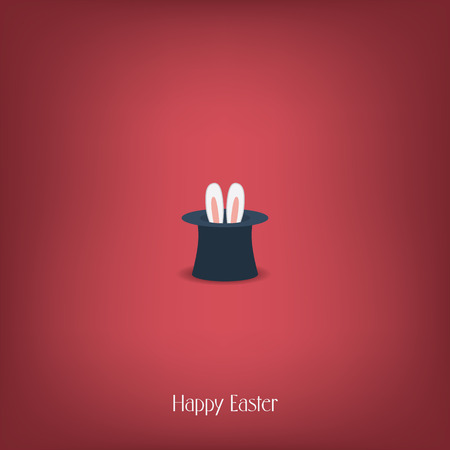 magician hat: Happy Easter postcard design. Bunny ears in magician or illusionist hat. Hiding rabbit, red background.