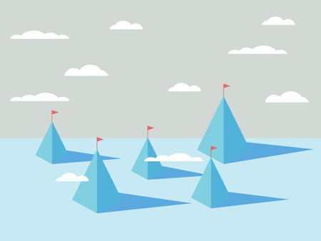 objectives: Abstract mountains backgrounds with flags on tops. Business concept of success, goals, objectives, targets.