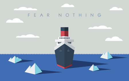 risk management: Risky adventure exploration business concept. Fearless explorer ship and icebergs in sea.