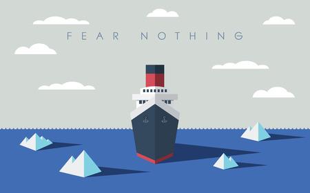 mision: Risky concepto de negocio de exploraci�n aventura. Buque explorador audaz y icebergs en el mar.