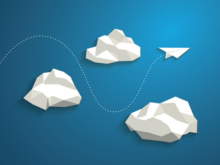 cloud: Paper plane flying between clouds. Modern polygonal shapes background, low poly. Business concept design.