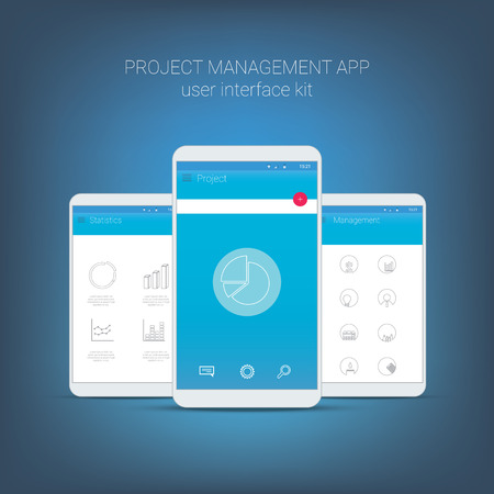 website buttons: Flat design user interface for smart phone or mobile project management apps. Navigation menu with line icons and buttons. Statistics, graphs, budget, money, organiser, charts.