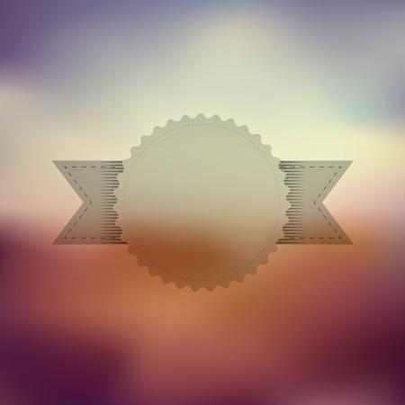 violet red: Transparent vintage badge with ribbon on blurred background. Gradient mesh, purple, orange, red, violet colors.