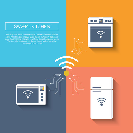freezer: Internet of things smart kitchen concept with appliances. Refrigerator, freezer, fridge, oven, microwave. Modern flat design infographics long shadow.