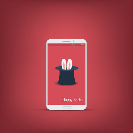 mago: Mensaje de Pascua feliz con el teléfono inteligente. Oídos del conejito símbolo sobre fondo rojo. Conveniente para el anuncio y promoción.