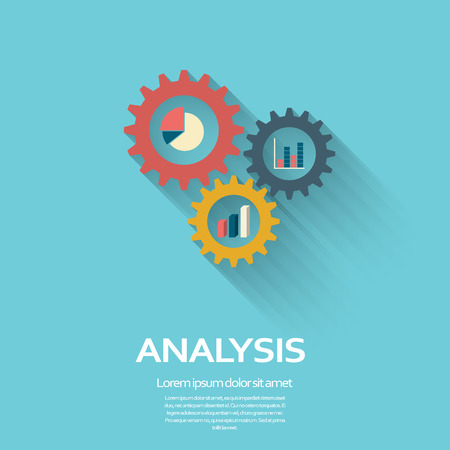 information symbol: Business Analysis symbol with gears icon and pie chart, graphs. Long shadow flat design.