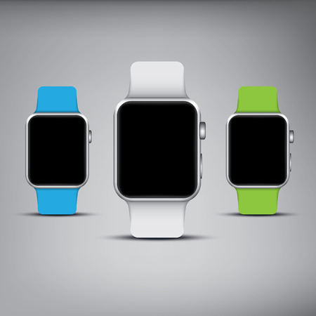 steel frame: Blank smartwatch templates with sport bands. Steel frame rounded square with buttons. Illustration