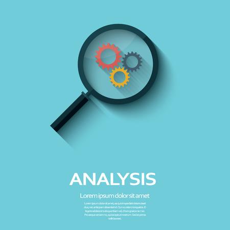 zvětšovací sklo: Business Analysis symbol s ikonu lupy a ozubených kol. Dlouhý stín plochý design.