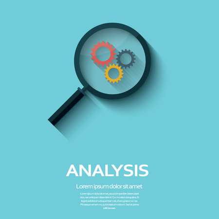 business analysis: Business Analysis symbol with magnifying glass icon and gears. Long shadow flat design.