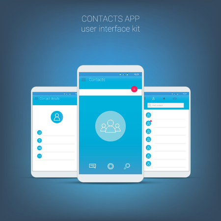 contact details: Flat design user interface for smart phone or mobile contact apps. Navigation menu with line icons and buttons. Contacts details, list screens. Illustration