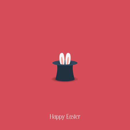 Happy Easter postcard design. Bunny ears in magician or illusionist hat. Hiding rabbit, red background. Vector