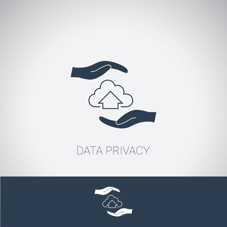 data theft: Data privacy symbol. Cloud computing protection and security. Modern flat design. Eps10 vector illustration. Illustration